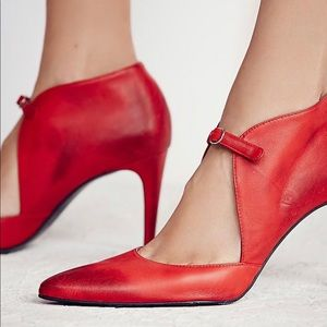 Rare! Free People Cerow Red Leather Heels